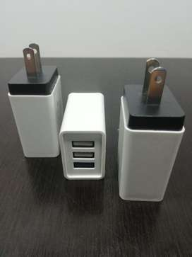 CARGADOR 3 PUERTOS USB CARGA RAPIDA
