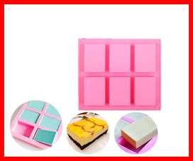 moldes de jabón de silicona, 6 cavidades DIY hechos a mano, moldes de jabón para tartas, moldes para hornear, galletas