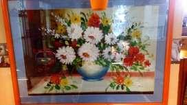 Vendo o Cambio cuadro de flores enmarcado en perfectas condiciones . (Recibo articulo de interés)