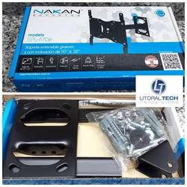 Soporte para TV LED Nakan. 10'' a 32'', 20 Kg. con brazo giratorio