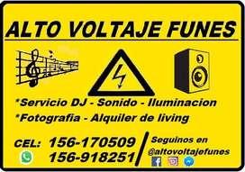 Servicio dj, alquiler de sonido e iluminación, fotografía y living Tel: 156918251  156 170509