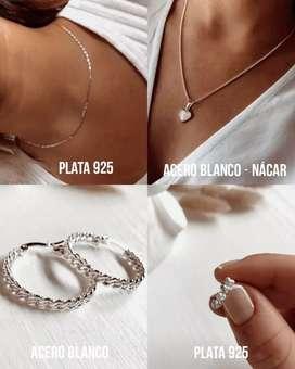 Hermoso combo de joyas de acero blanco