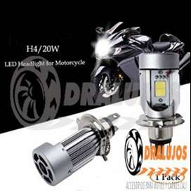 1 Bombillo Luz Led H4 4000lm 20w Alta Potenc/baja Carro/moto SKU: BOAL06