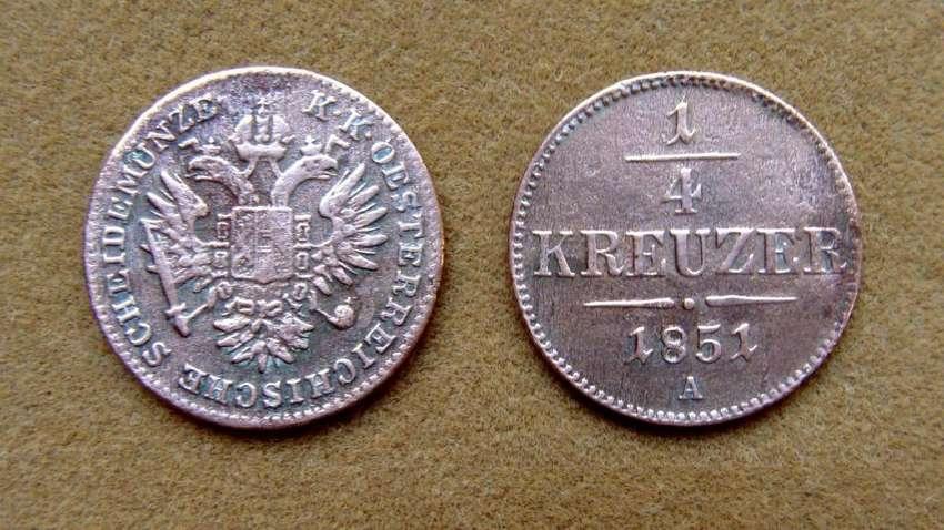 Moneda de 1/4 de kreuzer Imperio Austro-Húngaro 1851 0