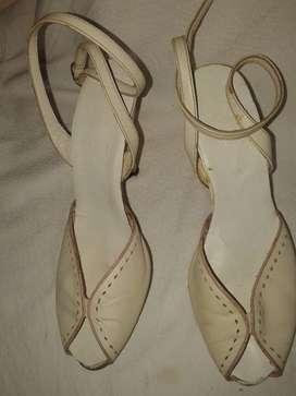 Zapato Cuero 38 Blanco Stileto 10cm-borde Rosa