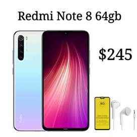 Redmi note 8 64gb gratis mica 9d y auriculares nuevo con garantía