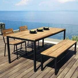 Decoración de jardín metálico y madera moderno, elegante mesas, silla