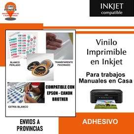 Vinilo Blanco Adhesivo Imprimible En Inkjet A4