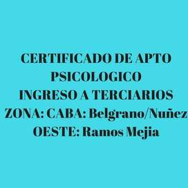 APTO PSICOLOGICO Ingreso Cruz Roja, Ramos Mejia*Lujan*Capital Federal