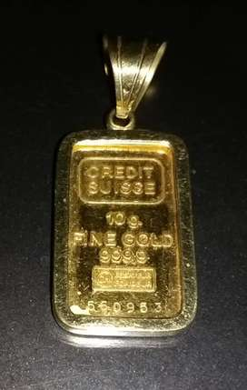 Lingote de oro 24 k .(puro)de 10 g. engarzado para colgar. NO HACER OFERTAS.