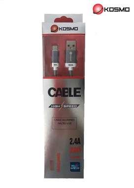 Cable cargador USB reforzado.