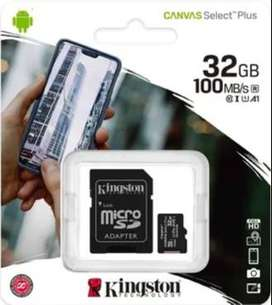 MEMORIA MICRO SD DE 32 GB CLASE 10 MARCA KINGSTON Y/O SANDISK 100% ORIGINAL