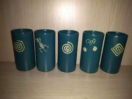 5 vasos artesanales en ceramica