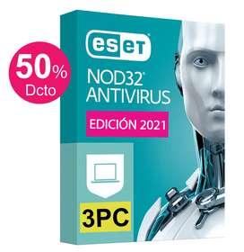 ESET Antivirus NOD32 3PCs Licencia Original 1 Año Windows 10, 8, 7, Mac (OFERTA Hoy 99 Soles)