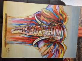 Cuadro sobre lienzo pintado al oleo - Elefante Arte Pop