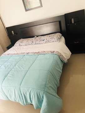 Cama  queen 169x180 con el colchon y dos mesas de noche con lampara