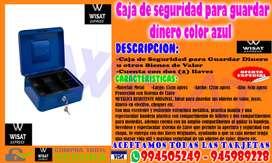 Caja de seguridad para guardar dinero color azul
