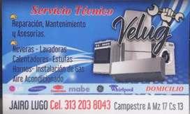 Reparación : lavadoras y neveras , calentadores aires acondicionados y mantenimientos