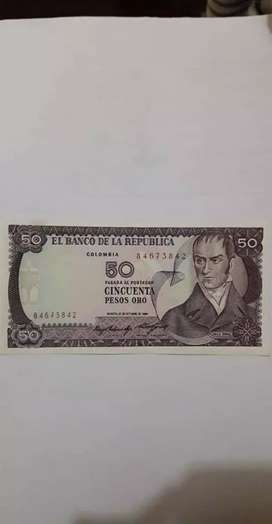 Vendo billete cincuenta pesos oro