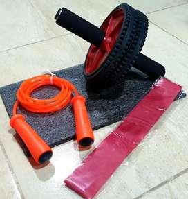 Rueda abdominal, tapete, lazo siliconado y banda elastica