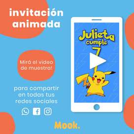 Pikachu Invitación Animada en Video