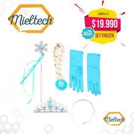 set o kit para disfraz de frozen (trensa), tiara, corona y guantes
