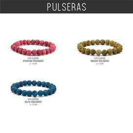 Pulseras Volcánica Colores Piedra Naturales Unisex Hombre Mujer Mr.BoU
