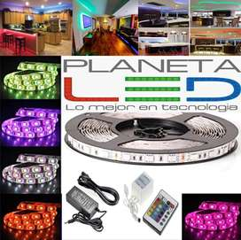 Cinta Rollo Tira Luces Led 5mt Multicolor +control Rgb 5050