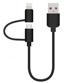 Cable USB 2en1 carga con sincronización de datos para iPhone-Samsung