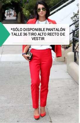 PANTALÓN ROJO TALLE 36/38 TIRO ALTO GABARDINA