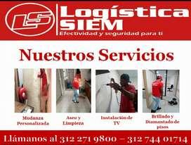 Servicios logísticos de mudanzas, aseo y limpieza