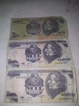 3 billetes uruguayos