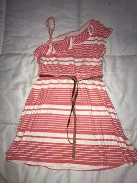 Vestido hombro caido rosa de rayas