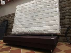 Base Cama Spring + Colchon Resortado Ortorelax Doble 140x190