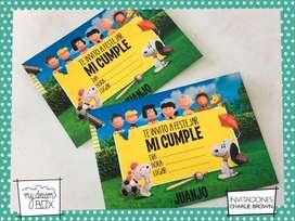 Souvenir Tarjetas Invitacion Snoopy Charlie Brown Cumple Infantil Evento Personalizada