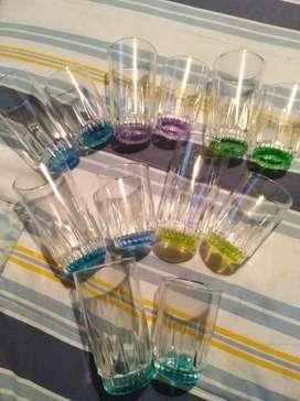 Set 12 Vasos Cortos Y Largos Cristal