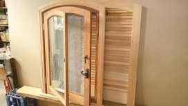 Vendo ventana de madera medio punto rebajado 1,10 x0,80
