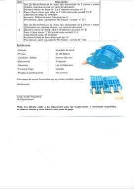 Blocks tipo Pastecas de Acero de 3 y 5 poleas