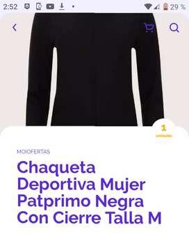 Chaqueta deportiva de mujer patprimo negra  con cierre