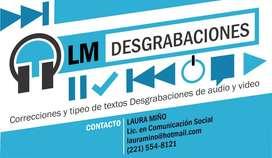 DESGRABACIONES, CORRECCION DE TEXTOS