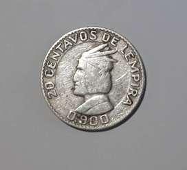Pequeña moneda de Honduras de plata, 20 c de lempira, 1952