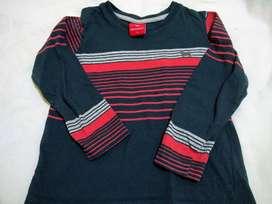 Remera mimo&Co talle 3 manga larga azul  rayas roja