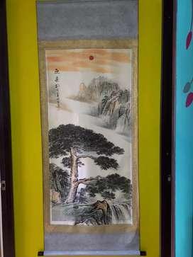 Pergamino Seda  Pintura árbol junto a corrientes de agua arte Xuan pap