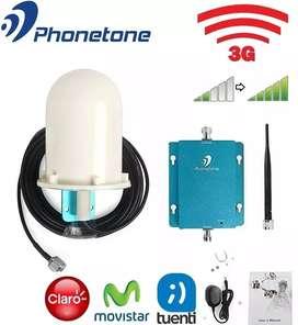 AMPLIFICADOR SEÑAL CELULAR PHONETONE BANDA 850MHz 3G 70dB MAS ANTENA OUT. 6dBi CABLE 10m MAS ANTENA IND. OMNI 3dBi