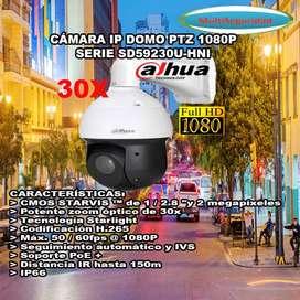 CÁMARA PTZ IP DAHUA 1080P 2MP 30X  SD59230U-HNI 150M AUDIO ALARMA PoE