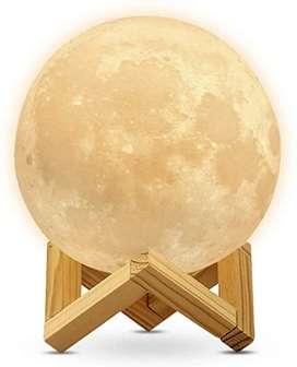 Lámpara humidificador forma de luna con luz led y base madera