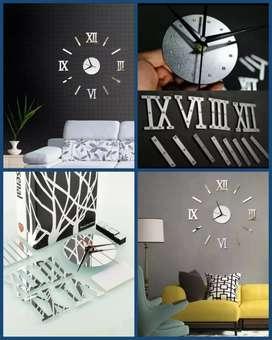 Reloj 3D Decorativo Plata
