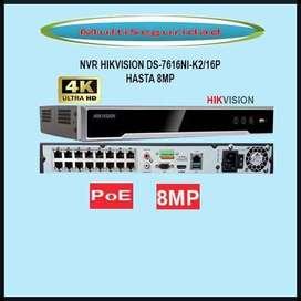 NVR HIKVISION DS-7616NI-K2/16P PoE HASTA 8MP 4K METAL IVA