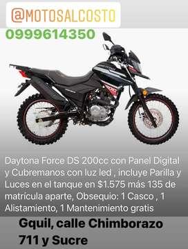 Moto Daytona Force DS 200cc Panel Digital y Cubremanos con Luces Led 2 años de garantia PRECIO FABRICA