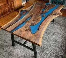 Mesas de centro y auxiliares fabricadas en madera 100 %natural y resina americana